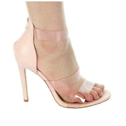 Rose ouverte CM Escarpin stiletto Angkorly 11 Chaussure Talon femme lanière Mode transparent aiguille wq7xRSI1