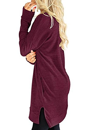 V Neck Pure Pockets Women Red Skinny Color Length Out Wine Dress Cut Mid Coolred ScRfIwqq