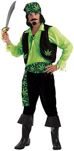 Forum Novelties Men's High Seas Cannabis Pirate Costume, Green, Standard -