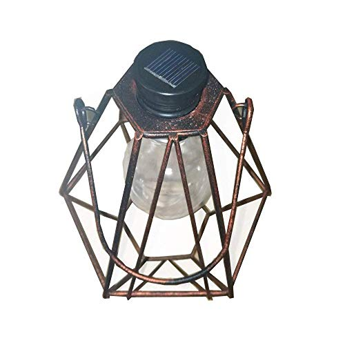 Obell Industrial Vintage Metal Diamond Shape Cage Lights- Warm Night Light- Hanging Solar Lights-Solar Table Lamp (Copper) by Obell