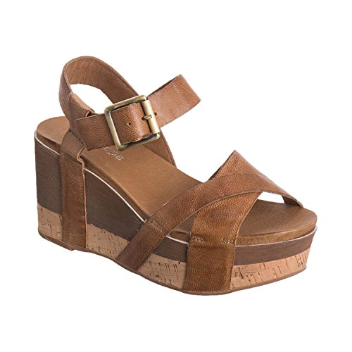 Antelope Women's 886 Taupe Leather Two Width Wedge Sandals 37