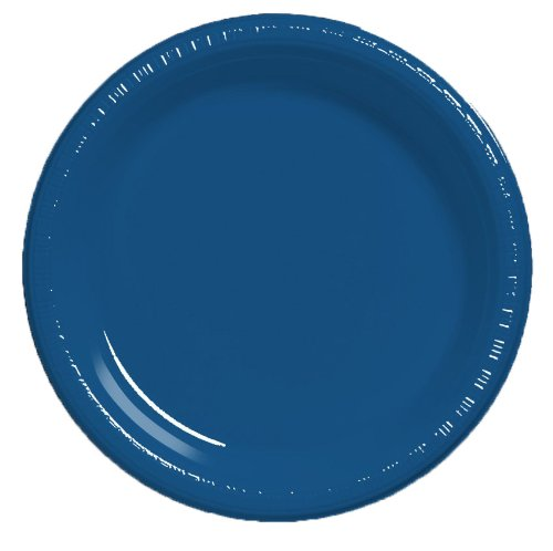 (Creative Converting Touch of Color 20 Count Plastic Dinner Plates, Navy)
