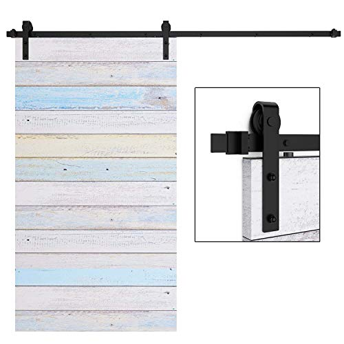EaseLife 8 FT Heavy Duty Sliding Barn Door Hardware Track Kit - Ultra Hard Sturdy | Sliding Smooth Quiet | Easy Install | Fit up to 48