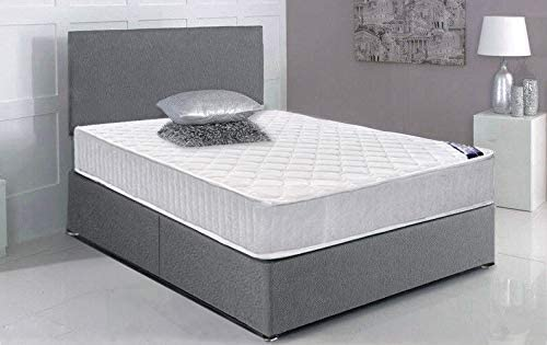 Panana Grey 4FT6 Double Bed Frame with Memory Foam Mattress Tall Headboard Divan Bed with 2 Footend Drawer