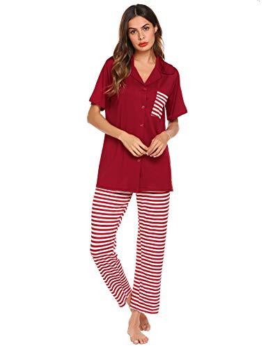Romanstii Womens Pajamas Set Button Short Sleeve Shirt and Striped Pants Sleepwear PJ Sets(S-XXL)