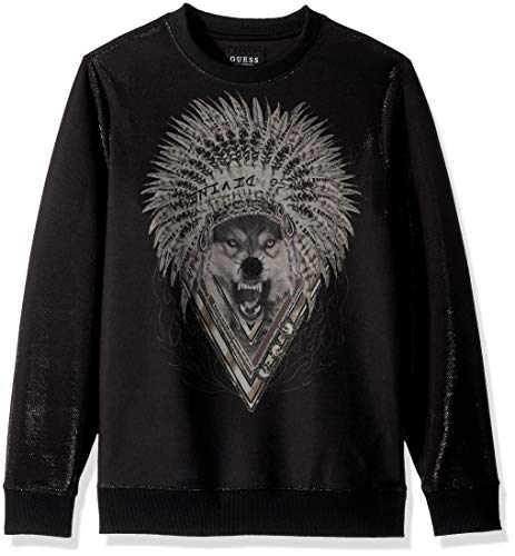 GUESS Men's Long Sleeve Luther Wolf Crew Neck
