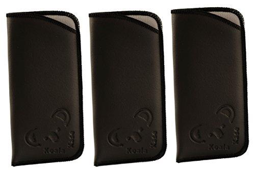 Koala Lifestyle Soft Padded Vinyl Leather Slim Travel Slip In Eyeglass & Sunglass Case Holder | 3 Pack, - Case Soft Glasses