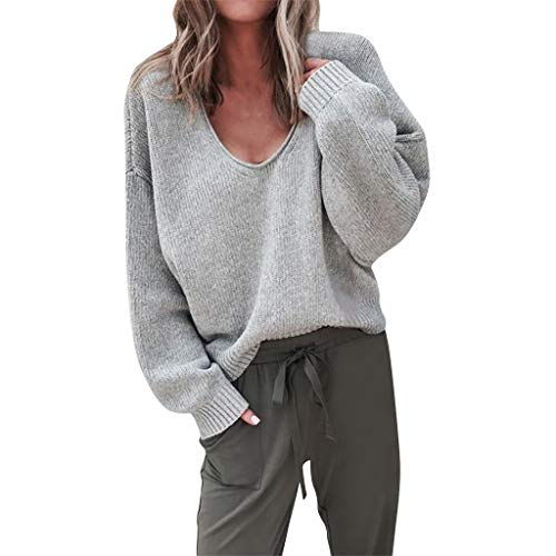 Price comparison product image Women's Winter Fuzzy Popcorn Sweater V Neck Long Sleeves Loose Fit Sweatshirt Solid Tops Pullover Gray