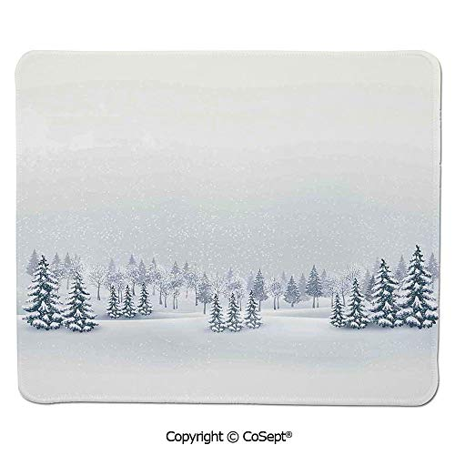 Gaming Mouse Pad,Winter Scene in a Park with Trees Foggy Blurry Weather Ice Cold Frost Image,Dual Use Mouse pad for Office/Home (11.81