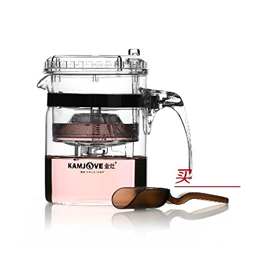 KAMJOVE Glass Gongfu Teapot Press Art Tea Cup Teapot with filter TP-140 300ml heat-resistant glass