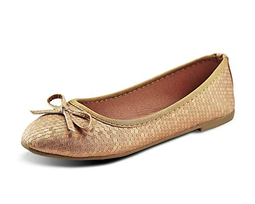 Jabasic Womens Ballet Dress Flats Classic Bowknot Slip-on Loafers Shoes - Ladies Golden Shoes