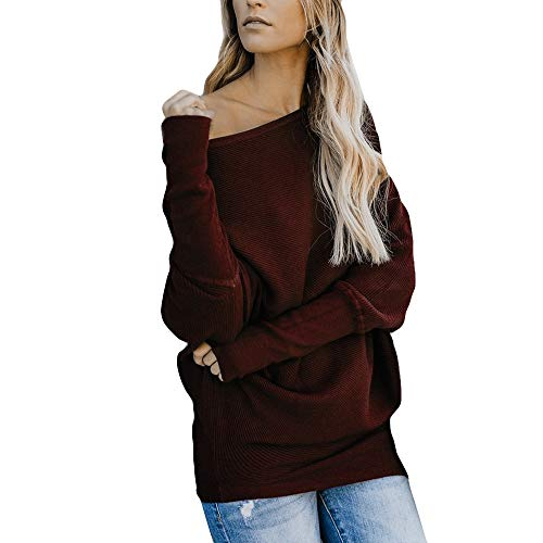 - TUSANG Women Pure Color Skew Collar Cotton Casual Top T Shirt Ladies Pullover Long Sleeve Blouse Tunic(Wine,L)