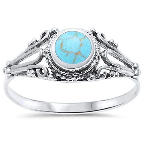 CloseoutWarehouse Simulated Turquoise Antique Decorated Band Ring Sterling Silver Size 7