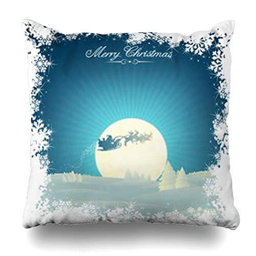 (Decor Champ Throw Pillow Covers Christmastime Border Retro Styled Christmas Copy Space Abstract Snow Santa Xmas Sleigh Winter Home Decor Sofa Pillowcase Square Size 20 x 20 Inches Cushion Case)