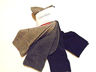 Calvin Klein Combed Cotton BONUS 4 Pairs Casual Dress Socks (Grey/Black)