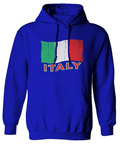 Italia Distressed Italy flag Italian National flag Vintage Look Hoodie (Royal, Small)