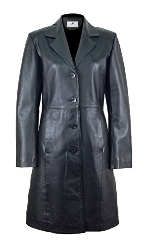 Long Black Ladies Leather Coat - 5
