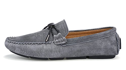 Tda Mens Simple Couleur Pure Noeud Cuir Affaires Conduite Penny Mocassins Gris