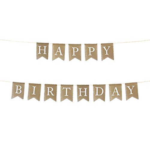 Andaz Press Real Burlap Fabric Pennant Hanging Banner Happy Birthday, Pre-Strung, No Assembly Required, 1-Set]()
