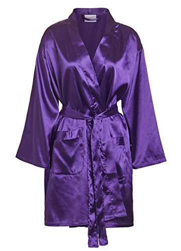Wholesale Robes (TowelRobes Women's Kimono Satin Robe Satin Lounge Bridesmaids Short Robe Purple Small/ Medium)