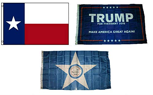 ALBATROS 3 ft x 5 ft Trump #1 with State of Texas with City of Houston Set Flag for Home and Parades, Official Party, All Weather Indoors Outdoors