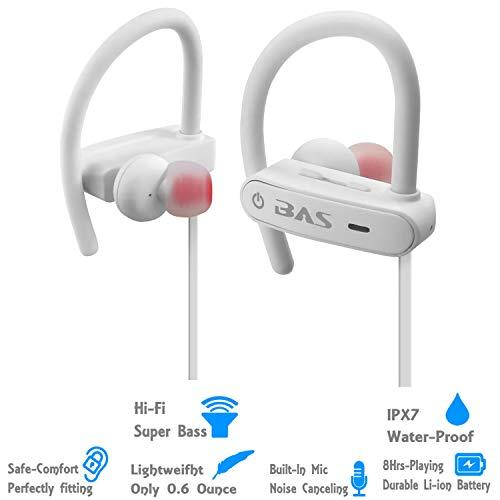 PowerBAS10 Wireless in-Ear Bluetooth Waterproof Sports Headphones White