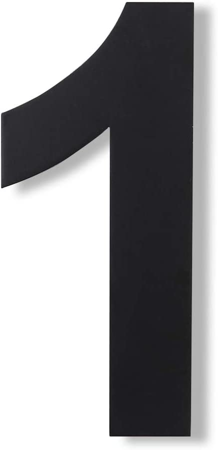 Mellewell Modern Floating House Numbers, Large 8 Inch, Stainless Steel 18-8 Black, Number 1 One