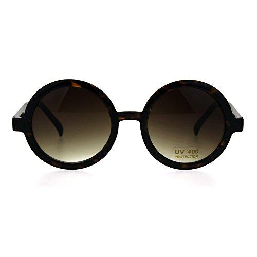 Womens Tortoise Shell Round Circle Wizard Plastic Mod Designer - Sunglasses Tortoise Shell Round