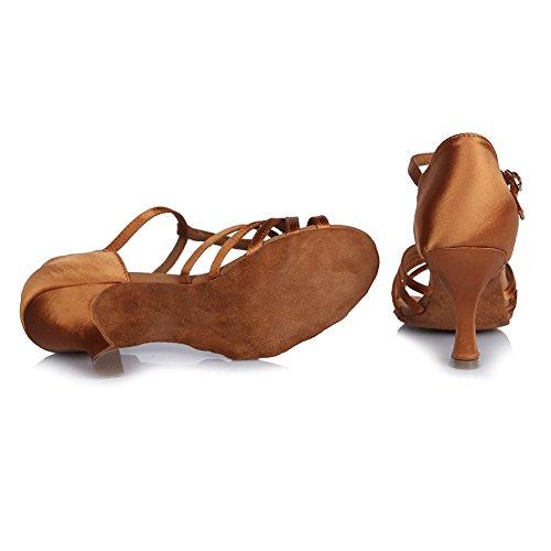 HROYL Zapatos de baile/Zapatos latinos de satén mujeres ES-403 Marrón