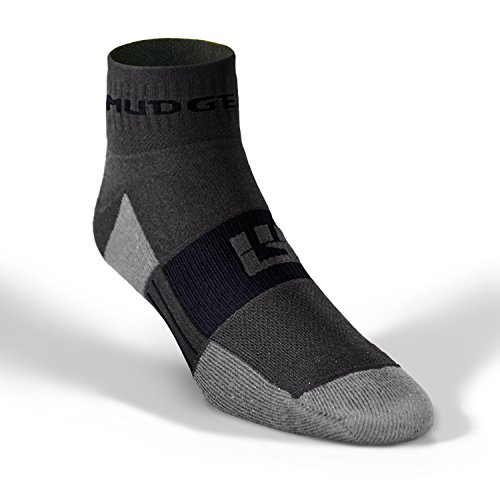 MudGear Trail Running Socks for Men and Women, Made in USA - 2 Pair Pack (Gray/Black, Large)