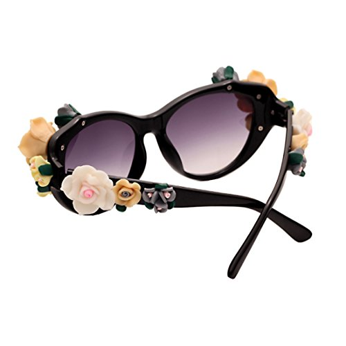 Oval Cat Inlefen Mujeres Brillante rosas moda Sunglasses Eye gafas Flores gafas Negro Playa mujer verano pqUqRSxwF