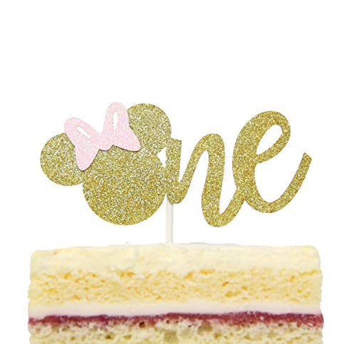 One Year Cake Topper Minnie Mouse Inspired First Birthday Party Decor Gold and Pink (Gold)