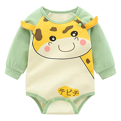 Hopscotch Boys 100% Cotton Full Sleeves Applique Animal Printed Bodysuit in Green Color