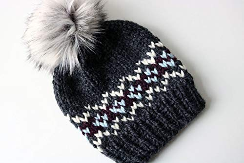 6b1f0be3dea Amazon.com  Knitted Fair Isle Knit Beanie Hat with Faux Fur Pom Pom  (Adult). Handmade in Chunky