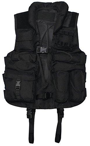 Gilet tactique et tissu vernis, garniture en cuir Noir Noir