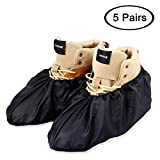 LINKEASE Reusable Boot & Shoe Covers Water Resistant Non Skid and Washable for Real Estate Contractors to Keep Floors Carpets Footwear and Rooms Clean - 5 Pairs (Extra Large, Black)