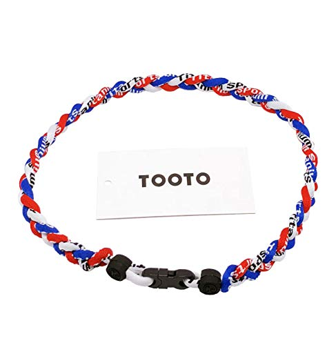 TOOTO Sport Style Tornado Titanium Necklace Three Colors Braided Rope Baseball Necklace-20 Length (Blue & White & Red)