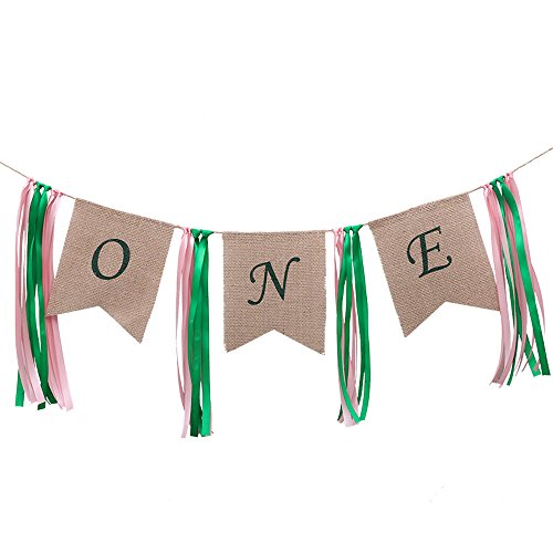1st Birthday Banner, One Burlap Highchair Garland with Tassel Tie for Kids Boys Girls Baby First Birthday Party Hanging Decorations Photo Booth Backdrop Props