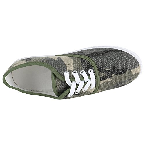 Übergrößen Unisex Dunkelgrün Sneaker Flandell Damen Stiefelparadies Low Herren Camouflage gwHXqx
