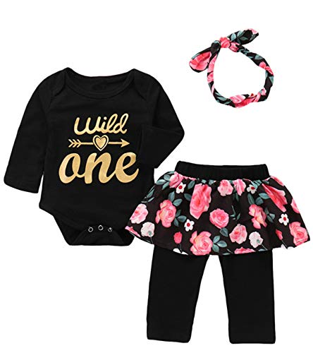 3Pcs Outfit Set Baby Girls Wild One Floral Pant Clothing Set (Black02 Wild One, 6-12 Months) -