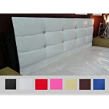 White Faux Leather Crystal Diamante Headboard to fit a 4ft6 Double Bed by FunkyBuys