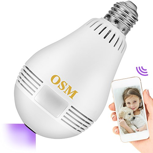 Home Security Hidden Camera 360 LED Smart Light Bulb | WiFi Home Indoor & Outdoor Wireless Surveillance Cam System, Supports up to 128gb Micro SD Card, Monitor Children and Pets