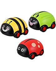 STOBOK 3pcs Pull Back Car Toy Beetle Shape Insect Toy Cars Birthday Gifts Baby Party Favors Pull Back and Go Car Toy Spinning
