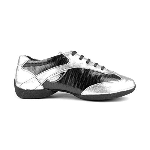PortDance Mujeres Dance Sneakers PD06 - Cuero Negro/Plateado - Suela Sneaker