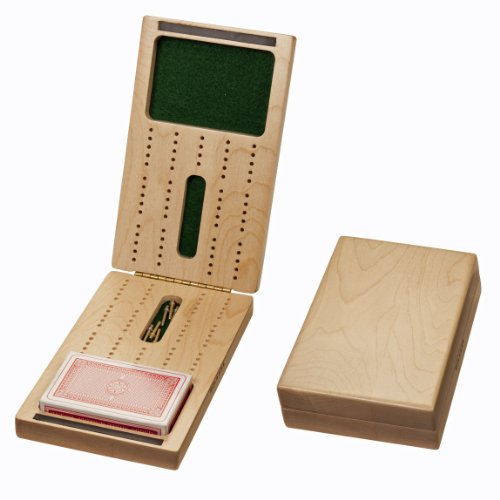 Travel Cribbage Set (Made in USA) - Solid Wood Folding 2 Track Full-size Board with Storage for Cards and Metal Pegs