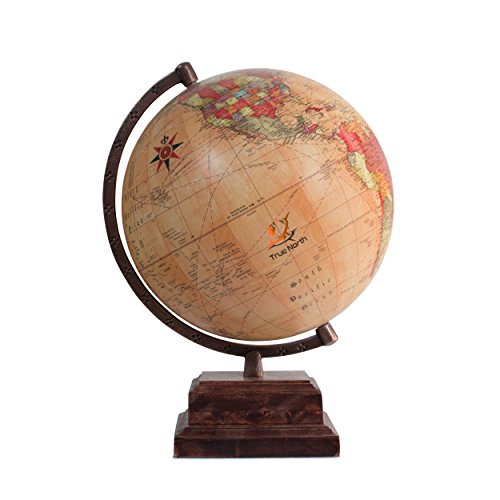 - True North World Globe with Strong, Heavy Duty Stand - Large 12