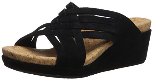 UGG Women's Lilah Wedge Sandal, Black, 8 M US