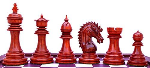 Staunton Castle, Thebes Series Wooden 4.4'' Chess Pieces, Best Chess Board Game - Beginner Learning Teaching Professional Optimal Weighted Chess Pieces, for Kids & Adults, RED (For Pieces Sale Chess Glass)