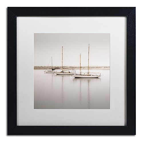 - Three Boats by Moises Levy in White Matte and Black Framed Artwork, 16 by 16
