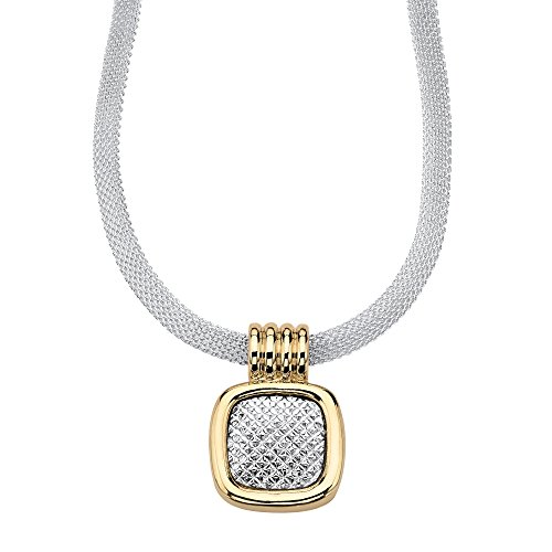 (Palm Beach Jewelry Goldtone Two Tone Diamond Cut Slide Pendant (19.5mm) with 17 inch Chain)